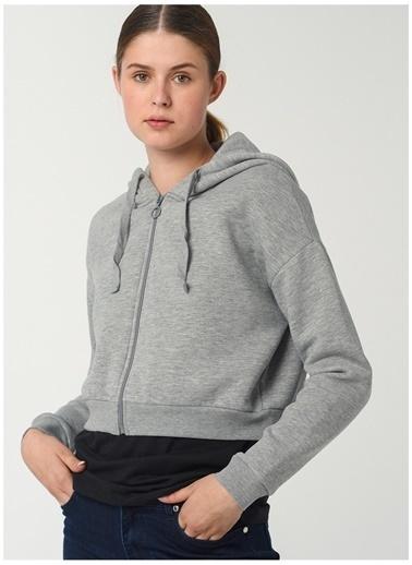 Limon Company Limon Kapüşon Yaka Gri Melanj Kadın Sweatshirt Gri